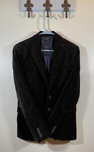 Zara Man Mens Velvet Blazer Dinner Jacket Black Velour Cotton Sport Coat USA 36
