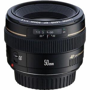 Canon 50mm F/1.4 USM Prime Fixed Portrait Lens - EF Mount for EOS DSLR Camera