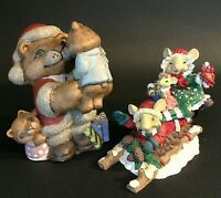 "SANTA BEAR & MICE FIGURINES SET OF 2 HAND DECORATED 6 1/2""H & 5 1/4""H SLEIGH"