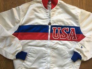 Vtg 80s USA Starter SATIN JACKET Olympics los angeles white games 1984 sz M