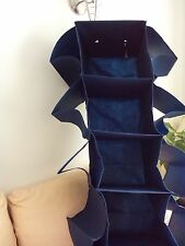 HEAVY DUTY HANGING ORGANISER FOR SHOES/BAGS/JUMPERS ETC. NAVY, GOOD QUALITY