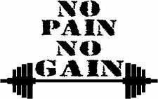 Motivational vinyl decal No Pain No Gain Gym Quote sticker Training Dumbbell