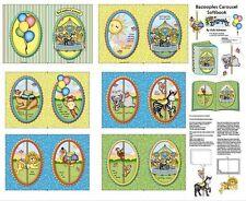 Springs Creative ~ Animals CAROUSEL Zebra Lion ~ 100% Cotton Fabric Book Panel