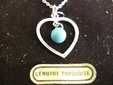 GOLD PLATED ON STERLING SILVER PENDANT, TURQUOISE