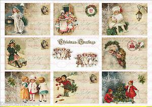 9 Vintage Weihnachten Santa  Bügelbilder auf  A4  NO. 969   Nostalgie pur