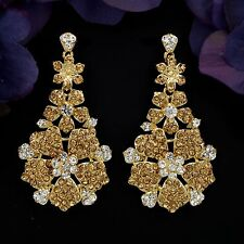 New Fashion 18K Gold GP Golden Crystal Rhinestone Drop Dangle Earrings 04174