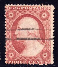 #26A - 3 Cents 1857, 89R10i, Pale Rose Brown, black 2 horiz. line manuscript ccl