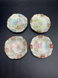 Four Theodore Haviland Limoges France Butter Pats Dishes Matching Flower Pattern