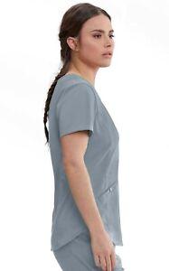 "Grey's Anatomy #013 V-Neck Detailed Scrub Top in ""Moonstruck"" Size L"