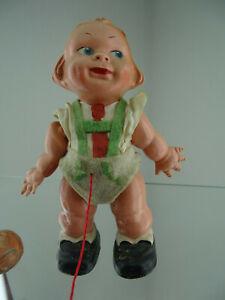 Antike Laufpuppe EDI Germany Puppe mit Schnur und Edi Kugel alte Sammlerpuppe