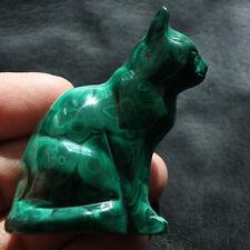 60mm  Natural Green Malachite Cat Crystal Carving