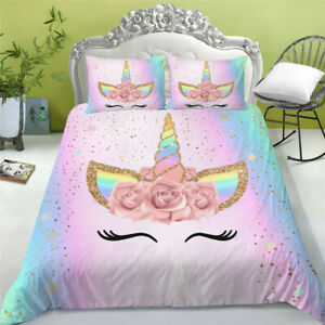 Home Bedroom Unicorn Design Bed Comforter Cover & Pillowcase Twin Size