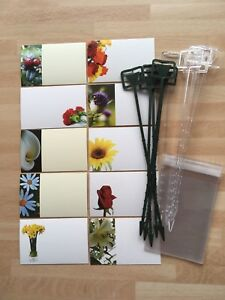 10 Plain Remembrance Florist Cards With Plastic Sleeves & Cardette Holders