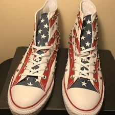Converse CTAS Hi Top Studded USA Flag Red White Blue Sneakers Men's 12 160994C