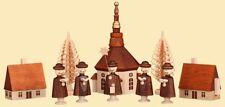 seiffener Pueblo con kurrende para manitas Pirámide Candelabro de Adviento 12cm