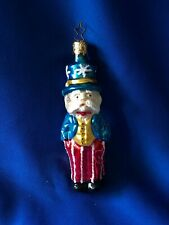 Vintage Uncle Sam Hand-Blown Glass Ornament, W.Germany, Patriotic, Red/White/Blu