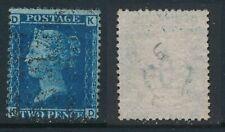GB, 1858 2d blue SG45, plate 9, cat £15 fine used, corner letters  KD