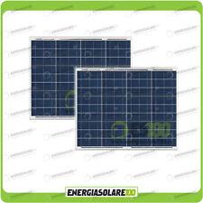 Set 2 Pannelli Solari Fotovoltaici 50W 12V multiuso Pmax 100W Baita Barca