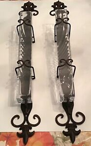 """Lovely Set of 2 Vintage 29"""" Wall Mount Wrought Iron Sconce w Glass Flower Holder"""