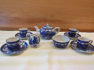 Doll Tea Set, Flow Blue Pocelain, Blue Willow Pattern, H. Aynsley & Co. - c1880