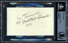 "Emlen ""Em"" Tunnell Autographed Signed 3x5 Index Card Giants Beckett 11077544"