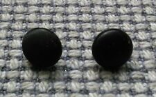 Set of 2 Small 10mm Vintage Black Fabric Old Boot Glove Buttons Teddy Eyes