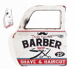 Decorazione da Muro Specchio 3D Metallo Porta Auto Vintage Barbiere Shop Barber