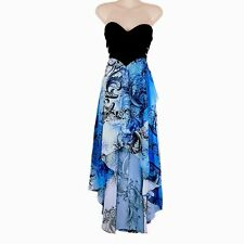 Womens Blue Black Ocean Waves Sea Sweetheart Neckline Cocktail Formal Maxi Dress
