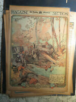 War Art History Newspaper 1914 FRENCH RETAKING ST.HILAIRE Sketch by XAVIER SAGER