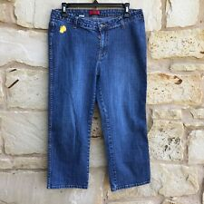 Apple Bottoms Junior's Size 13/14 Blue Denim Cropped Capri Embroidered Jeans