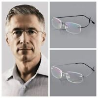 Ultralight Titanium Rimless Rectangular Reading Glasses Spectacles Eyeglass NEW!