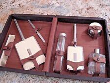 30's Antique Vintage Locking Travel Kit Leather Vanity Case with key England?