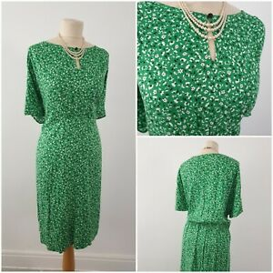 Vintage Green Floral 1940s 1950s Style Party Tea Dress Size 18