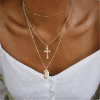 Multilayer Gold Plated Catholic Religious Virgin Mary Cross Pendant Necklace New