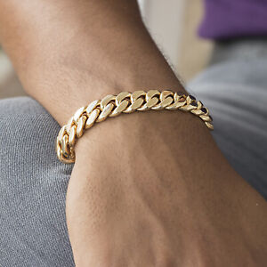 """Mens Cuban Link Chain Bracelet 18k Gold Plated Stainless Steel 12mm 6""""-11"""""""