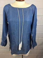 Tommy Hilfiger NWT Women Blouse Pull Over Blue Denim 3/4 Sleeve W/Side Pocket PS