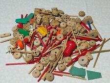 Vintage Tinker Toys Mixed Lot Building Huge Lot 220+ Pieces Wooden Plastic