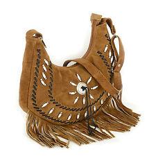 Handmade  Western Style Real Suede Leather Beaded Ladies Shoulder Bag Fringed