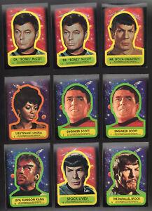 Star Trek Topps Trading Card 9 Sticker Lot NM   1976