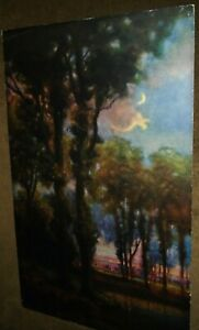 R. Atkinson Fox, Trees, Pond, Moon, E. G. Co., Large Print 1920s