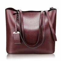 Women's Handbag Genuine Leather Tote Shoulder Bags Soft Hot Shoulder Bag Wine US