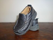 Cherokee Boy's Youth Toddler Black Leather Loafers Size 7 Slip Ons