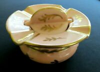 Rare Mid Century Modern PINK ASH TRAY W Revolving Ashes Remover Gold Accents