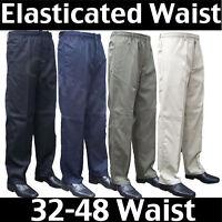 Men's Elasticated Waist Smart Casual Rugby Trousers Waist 32-48 Leg 27 29 31