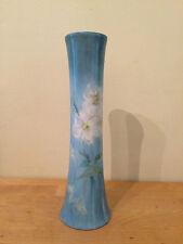 "Lovely 10"" Hand Painted Floral Vienna Austria Porcelain Fluted Vase - Blue"