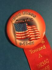 9/11/01 God Bless America Pinback with Ill. Nat'l Guard Drug-Free Ribbon EX
