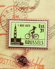 Hard Rock Cafe Pin BRUSSELS I was here Postage Stamp Series 3d logo dangle lapel