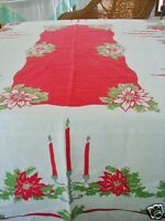 Vintage Christmas Tablecloth Linen Candelabra Poinsettia Holly USA Candles 50x66