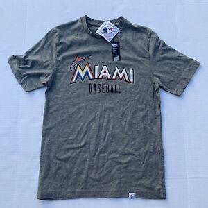 NWT Miami Marlins Baseball Official MLB Gray Mens Shirt Sz S Flex Blend