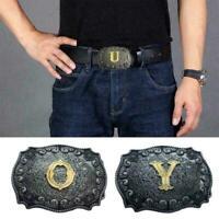 Vintage Mens Western Cowboy Alphabet Pattern Belts Fashion New Buckle Metal X9K4